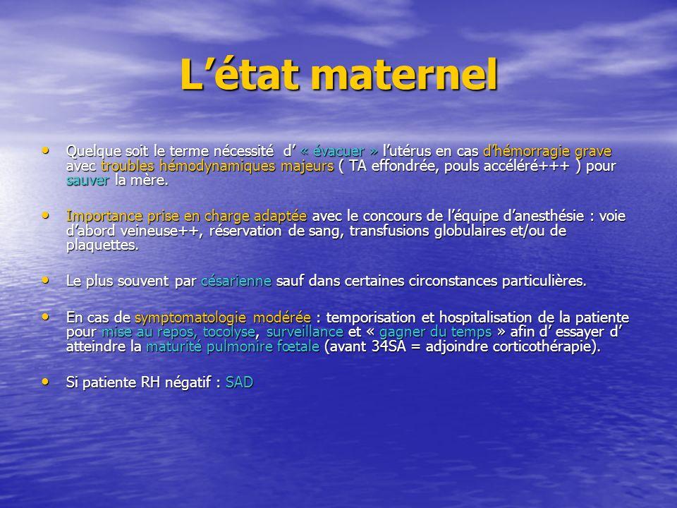 Létat maternel Quelque soit le terme nécessité d « évacuer » lutérus en cas dhémorragie grave avec troubles hémodynamiques majeurs ( TA effondrée, pou