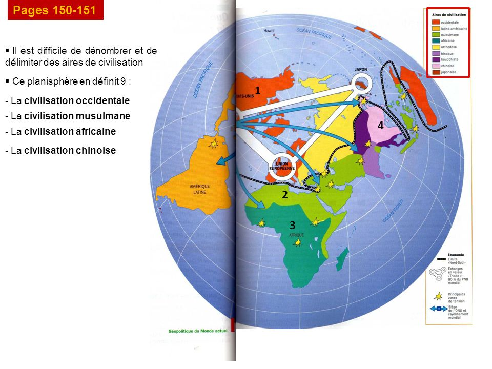 Pages 150-151 Il est difficile de dénombrer et de délimiter des aires de civilisation Ce planisphère en définit 9 : 1 - La civilisation occidentale 2 - La civilisation musulmane 3 - La civilisation africaine 4 - La civilisation chinoise