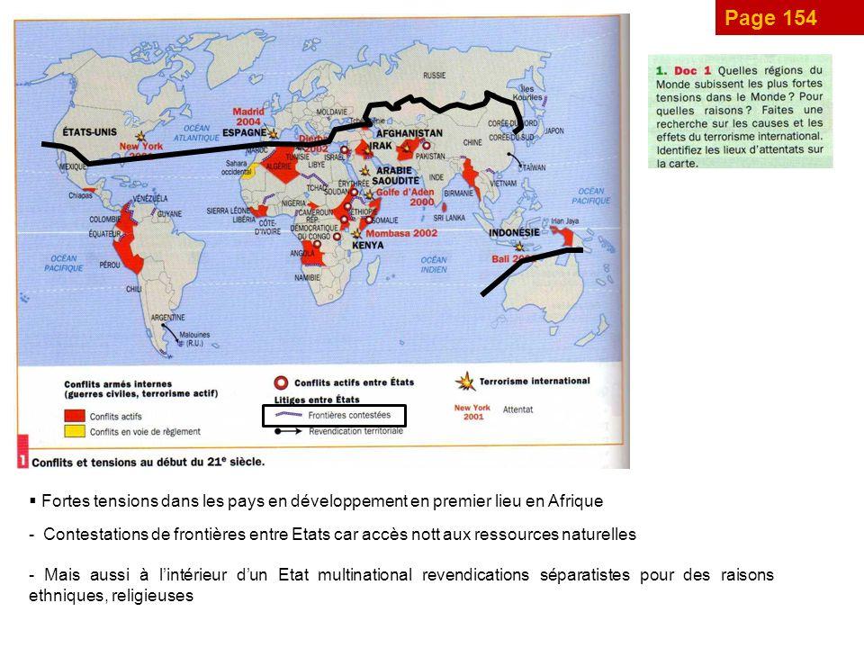 Page 154 Fortes tensions dans les pays en développement en premier lieu en Afrique - Contestations de frontières entre Etats car accès nott aux ressources naturelles - Mais aussi à lintérieur dun Etat multinational revendications séparatistes pour des raisons ethniques, religieuses