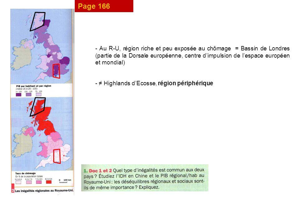 Page 166 - Au R-U, région riche et peu exposée au chômage = Bassin de Londres (partie de la Dorsale européenne, centre dimpulsion de lespace européen et mondial) - Highlands dEcosse, région périphérique