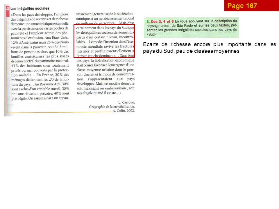 Page 167 Ecarts de richesse encore plus importants dans les pays du Sud, peu de classes moyennes