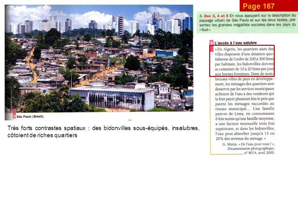 Page 167 Très forts contrastes spatiaux : des bidonvilles sous-équipés, insalubres, côtoient de riches quartiers