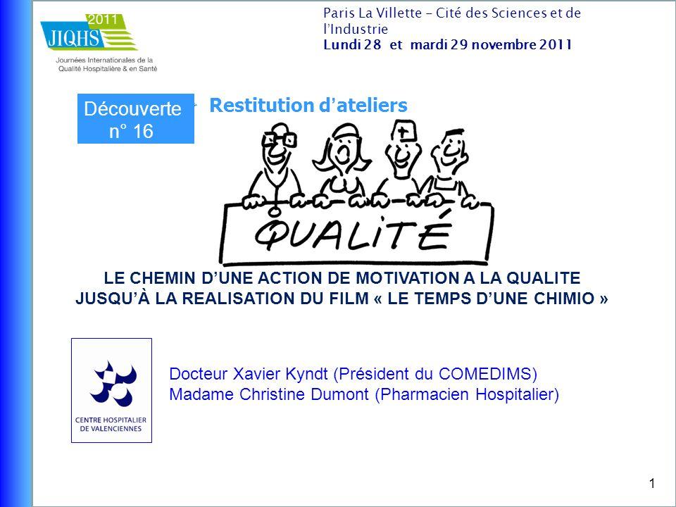 1 Docteur Xavier Kyndt (Président du COMEDIMS) Madame Christine Dumont (Pharmacien Hospitalier) Paris La Villette - Cité des Sciences et de lIndustrie