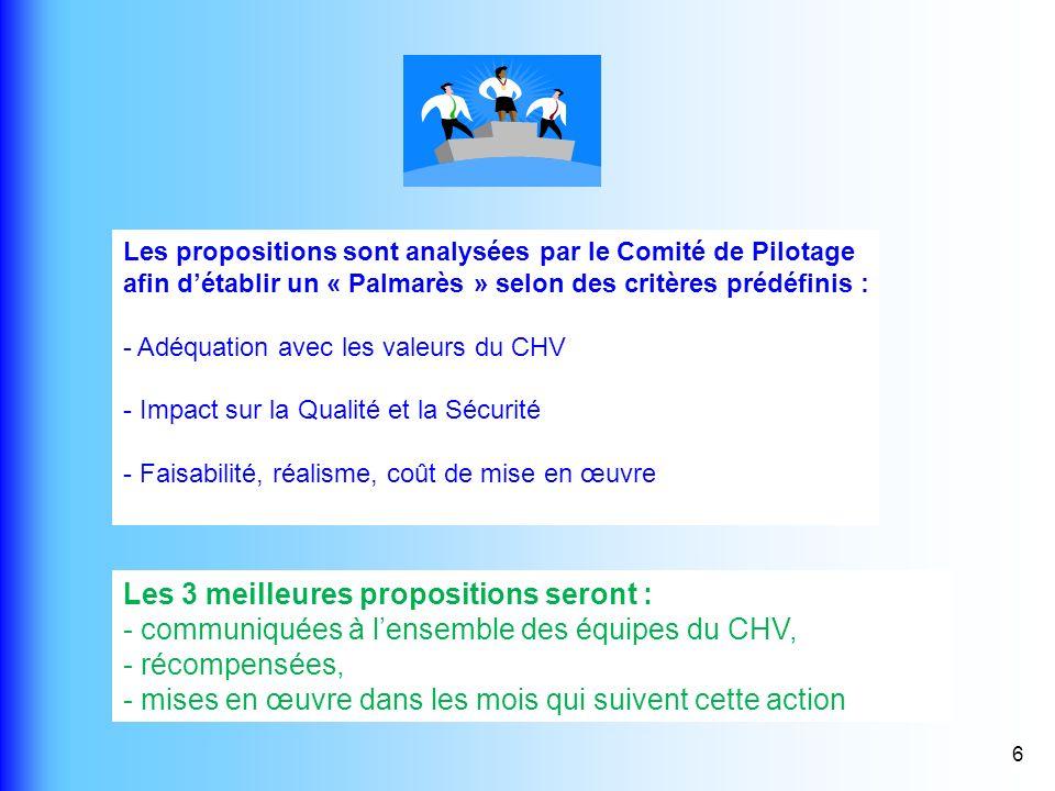 6 Les propositions sont analysées par le Comité de Pilotage afin détablir un « Palmarès » selon des critères prédéfinis : - Adéquation avec les valeur