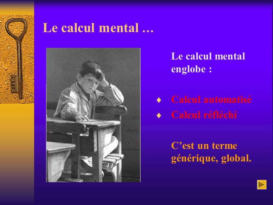 Le calcul mental … Le calcul mental englobe : Calcul automatisé Calcul réfléchi Cest un terme générique, global.