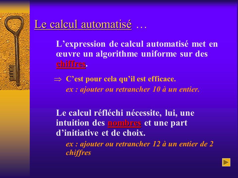 Le calcul automatisé Le calcul automatisé … chiffres Lexpression de calcul automatisé met en œuvre un algorithme uniforme sur des chiffres. Cest pour