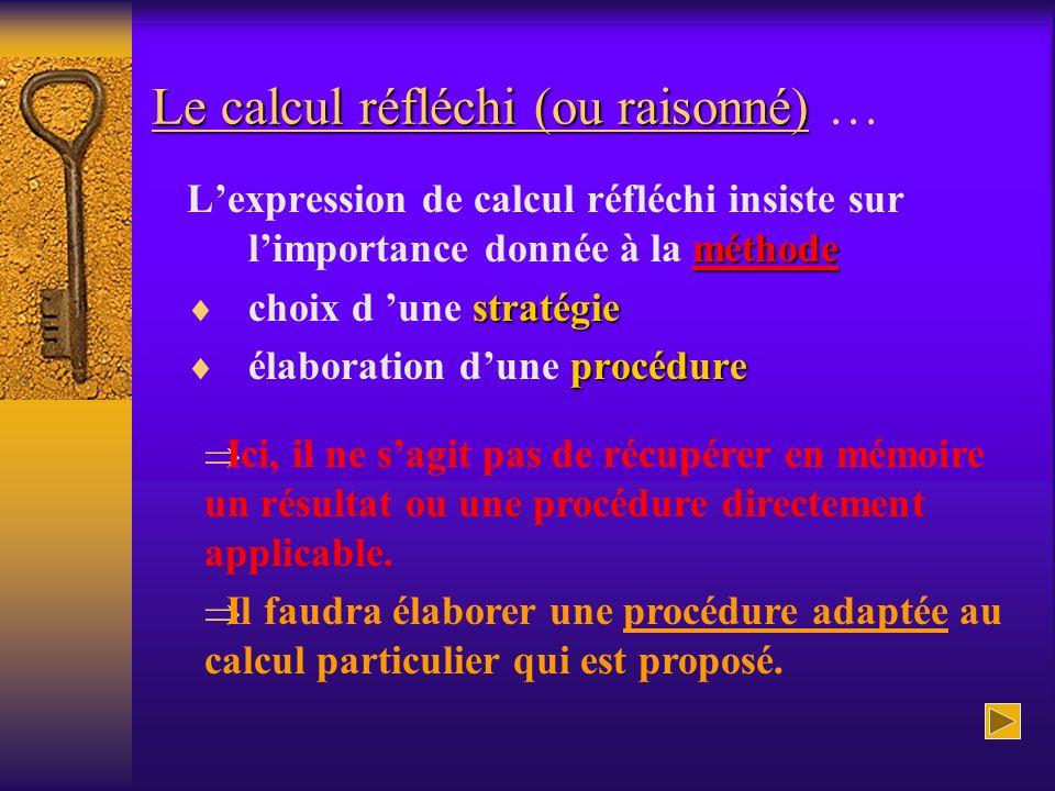 Le calcul réfléchi (ou raisonné) Le calcul réfléchi (ou raisonné) … méthode Lexpression de calcul réfléchi insiste sur limportance donnée à la méthode