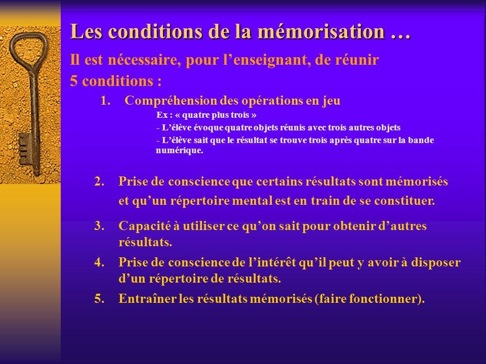 Les conditions de la mémorisation … Il est nécessaire, pour lenseignant, de réunir 5 conditions : 1.Compréhension des opérations en jeu Ex : « quatre