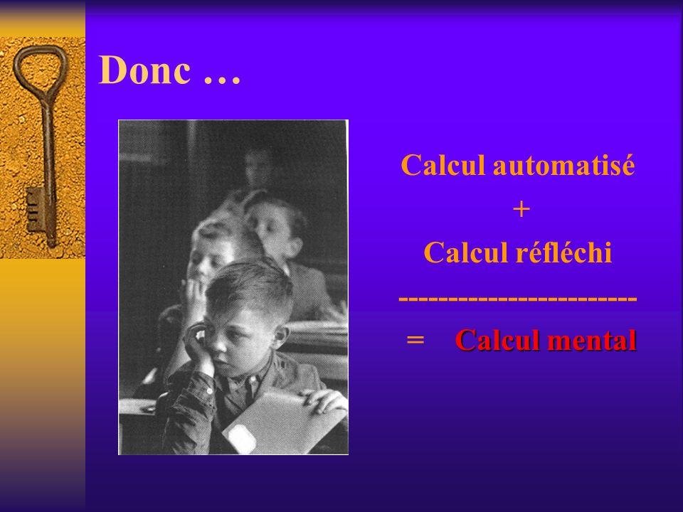 Donc … Calcul automatisé + Calcul réfléchi ------------------------ Calcul mental = Calcul mental