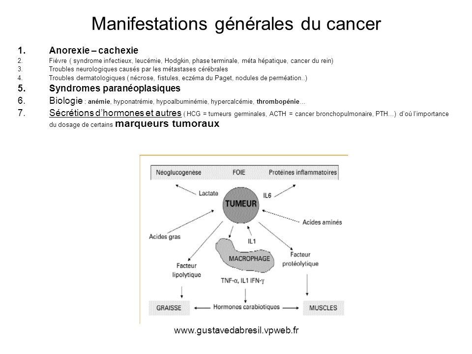 www.gustavedabresil.vpweb.fr Manifestations générales du cancer 1.Anorexie – cachexie 2.Fièvre ( syndrome infectieux, leucémie, Hodgkin, phase termina
