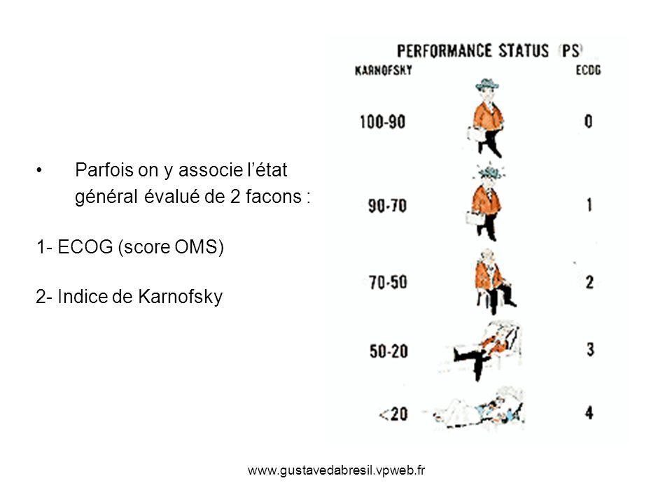 www.gustavedabresil.vpweb.fr Parfois on y associe létat général évalué de 2 facons : 1- ECOG (score OMS) 2- Indice de Karnofsky