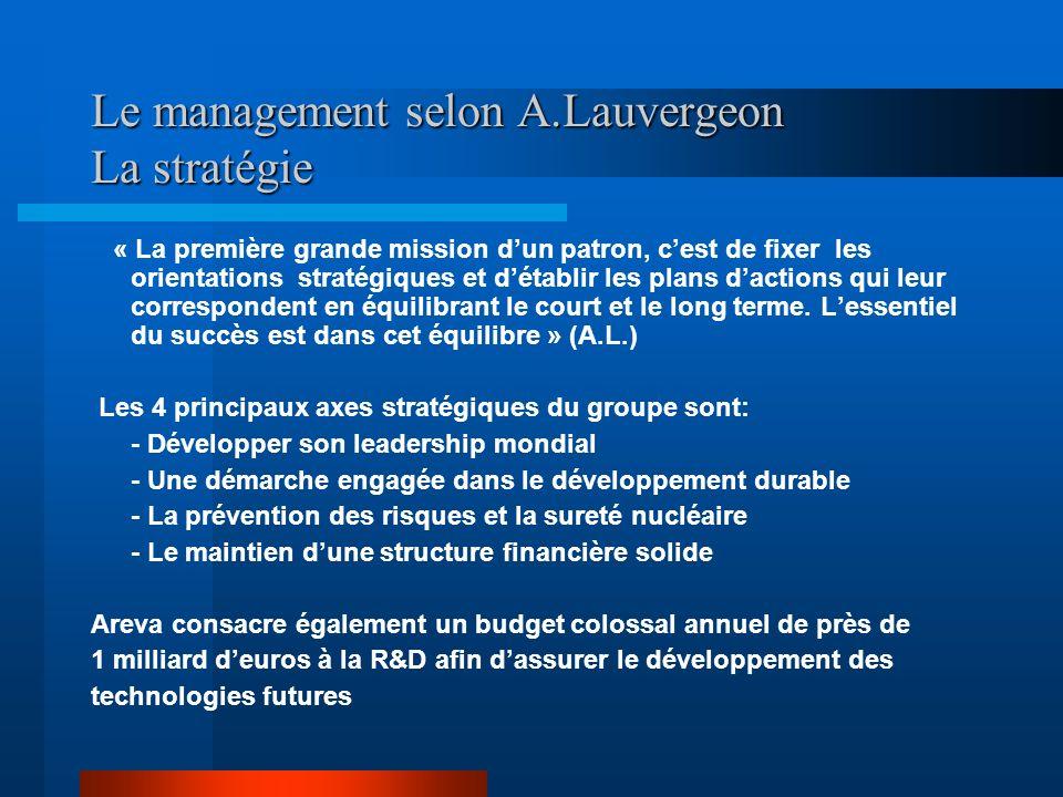 Le management selon A.Lauvergeon La stratégie « La première grande mission dun patron, cest de fixer les orientations stratégiques et détablir les pla