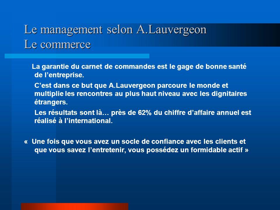 Le management selon A.Lauvergeon Le commerce La garantie du carnet de commandes est le gage de bonne santé de lentreprise. Cest dans ce but que A.Lauv