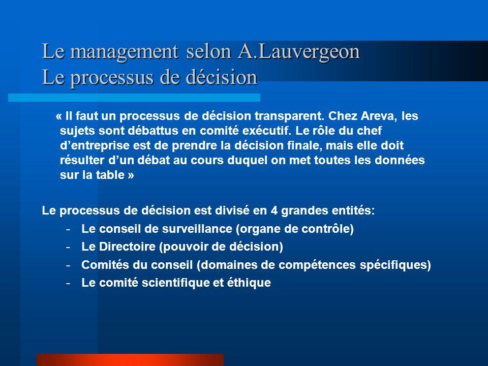 Le management selon A.Lauvergeon Le processus de décision « Il faut un processus de décision transparent. Chez Areva, les sujets sont débattus en comi