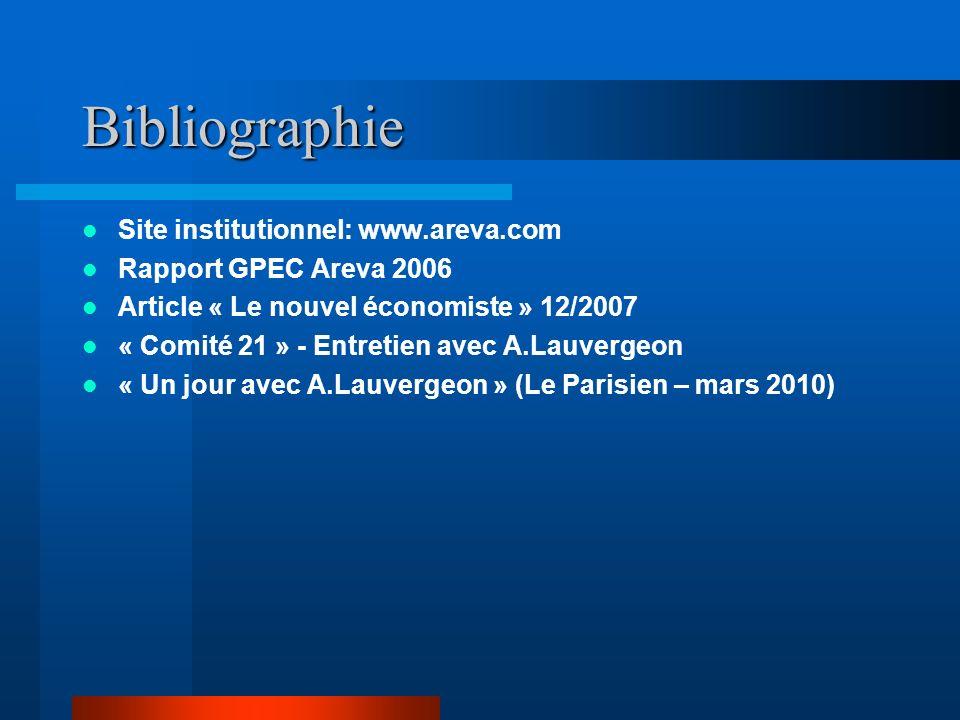 Bibliographie Site institutionnel: www.areva.com Rapport GPEC Areva 2006 Article « Le nouvel économiste » 12/2007 « Comité 21 » - Entretien avec A.Lau