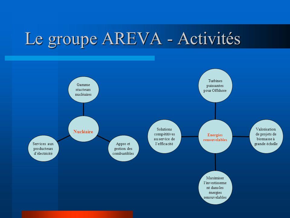 Le groupe AREVA - Activités Services aux producteurs délectricité Appro et gestion des combustibles Gamme réacteurs nucléaires Nucléaire Solutions com