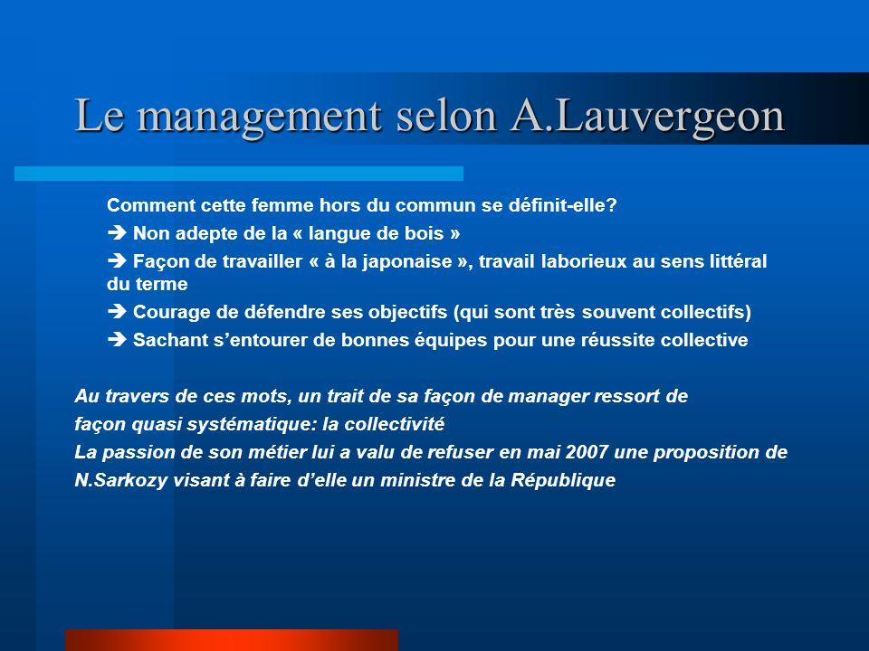 Le management selon A.Lauvergeon Comment cette femme hors du commun se définit-elle? Non adepte de la « langue de bois » Façon de travailler « à la ja