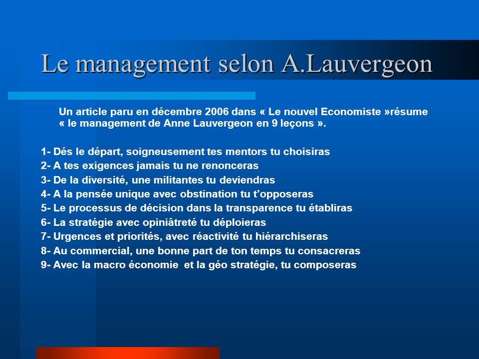 Le management selon A.Lauvergeon Un article paru en décembre 2006 dans « Le nouvel Economiste »résume « le management de Anne Lauvergeon en 9 leçons »