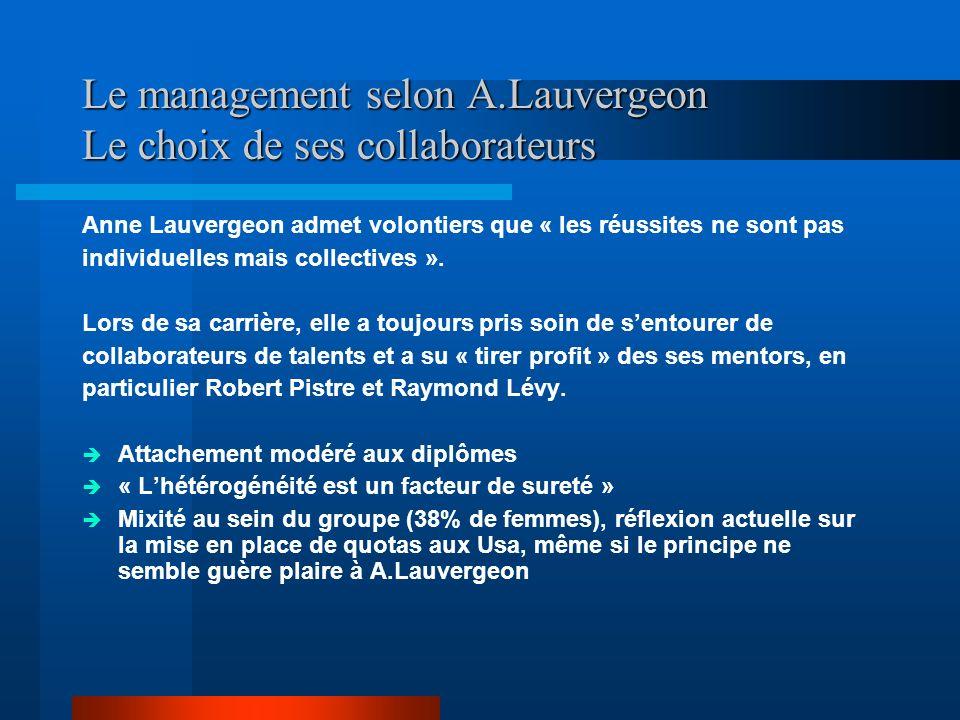Le management selon A.Lauvergeon Le choix de ses collaborateurs Anne Lauvergeon admet volontiers que « les réussites ne sont pas individuelles mais co