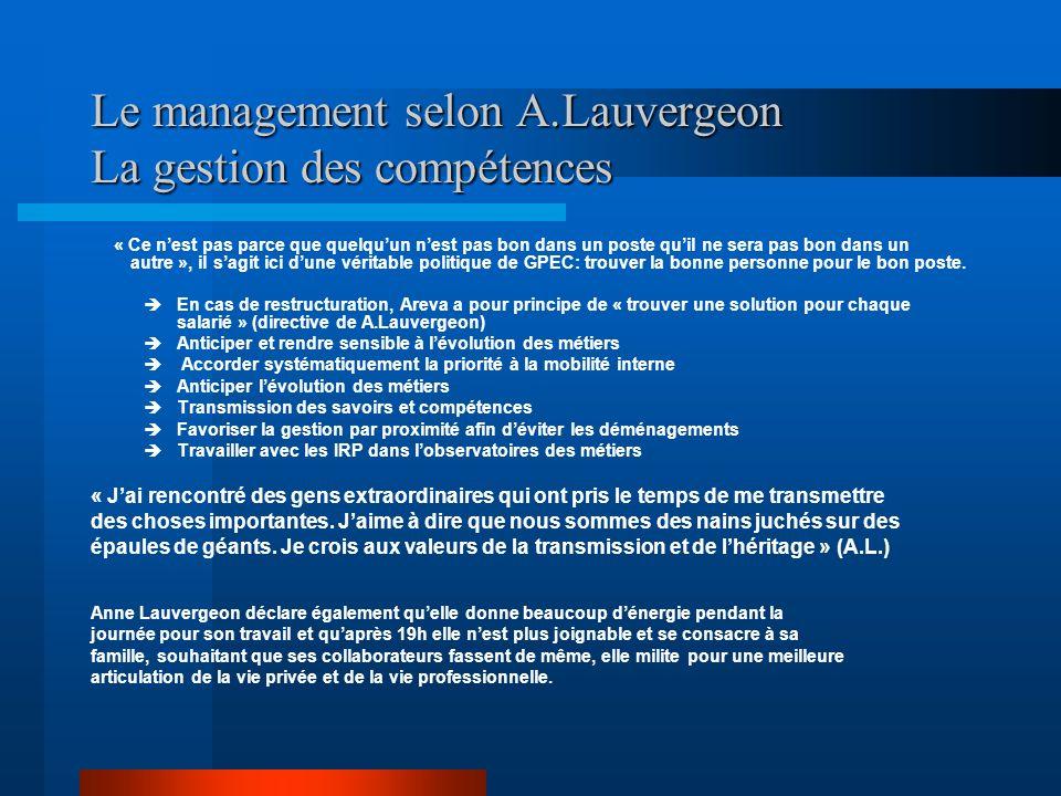 Le management selon A.Lauvergeon La gestion des compétences « Ce nest pas parce que quelquun nest pas bon dans un poste quil ne sera pas bon dans un a