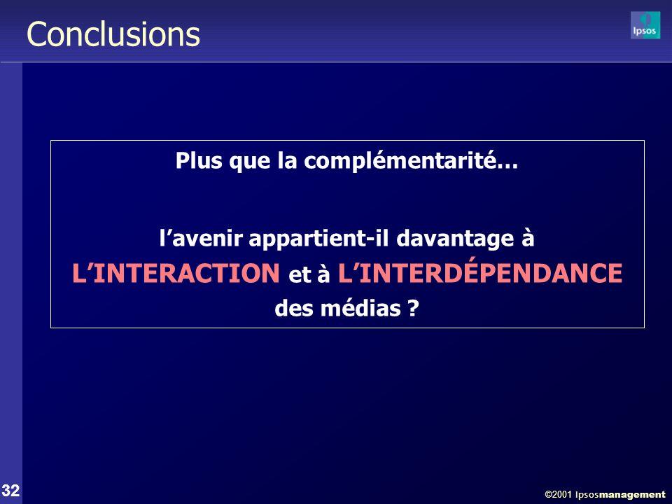 ©2001 Ipsos management 32 Conclusions Plus que la complémentarité… lavenir appartient-il davantage à LINTERACTION et à LINTERDÉPENDANCE des médias ?