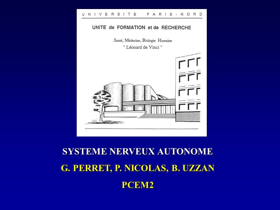 SYSTEME NERVEUX AUTONOME G. PERRET, P. NICOLAS, B. UZZAN PCEM2