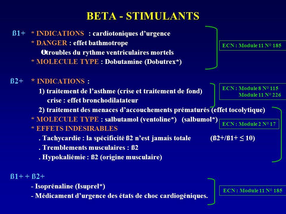 BETA - STIMULANTS ß1+ * INDICATIONS : cardiotoniques durgence * DANGER : effet bathmotrope Þ troubles du rythme ventriculaires mortels * MOLECULE TYPE