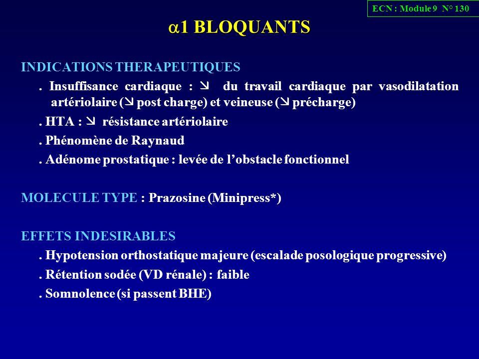 1 BLOQUANTS 1 BLOQUANTS INDICATIONS THERAPEUTIQUES. Insuffisance cardiaque : du travail cardiaque par vasodilatation artériolaire ( post charge) et ve