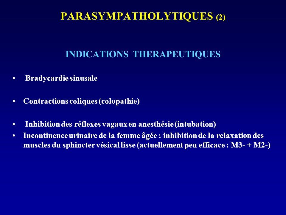 PARASYMPATHOLYTIQUES (2) INDICATIONS THERAPEUTIQUES Bradycardie sinusale Contractions coliques (colopathie) Inhibition des réflexes vagaux en anesthés