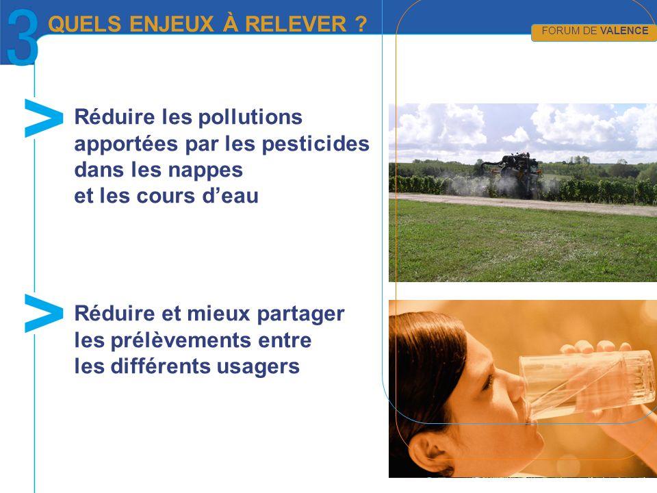 Réduire les pollutions apportées par les pesticides dans les nappes et les cours deau Réduire et mieux partager les prélèvements entre les différents