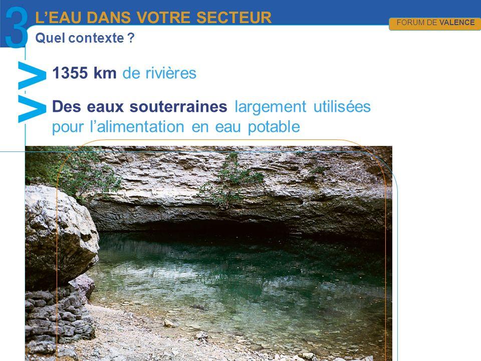 Quel contexte ? 1355 km de rivières LEAU DANS VOTRE SECTEUR FORUM DE VALENCE Des eaux souterraines largement utilisées pour lalimentation en eau potab
