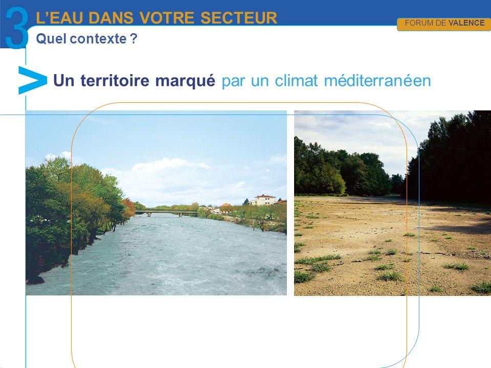 Quel contexte ? Un territoire marqué par un climat méditerranéen LEAU DANS VOTRE SECTEUR FORUM DE VALENCE