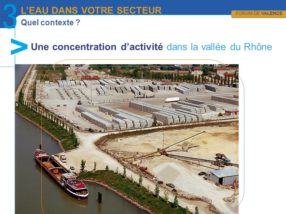 Quel contexte ? Une concentration dactivité dans la vallée du Rhône LEAU DANS VOTRE SECTEUR FORUM DE VALENCE