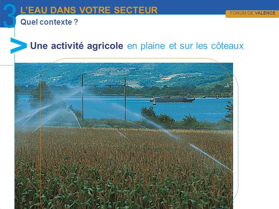 Quel contexte ? Une activité agricole en plaine et sur les côteaux LEAU DANS VOTRE SECTEUR FORUM DE VALENCE