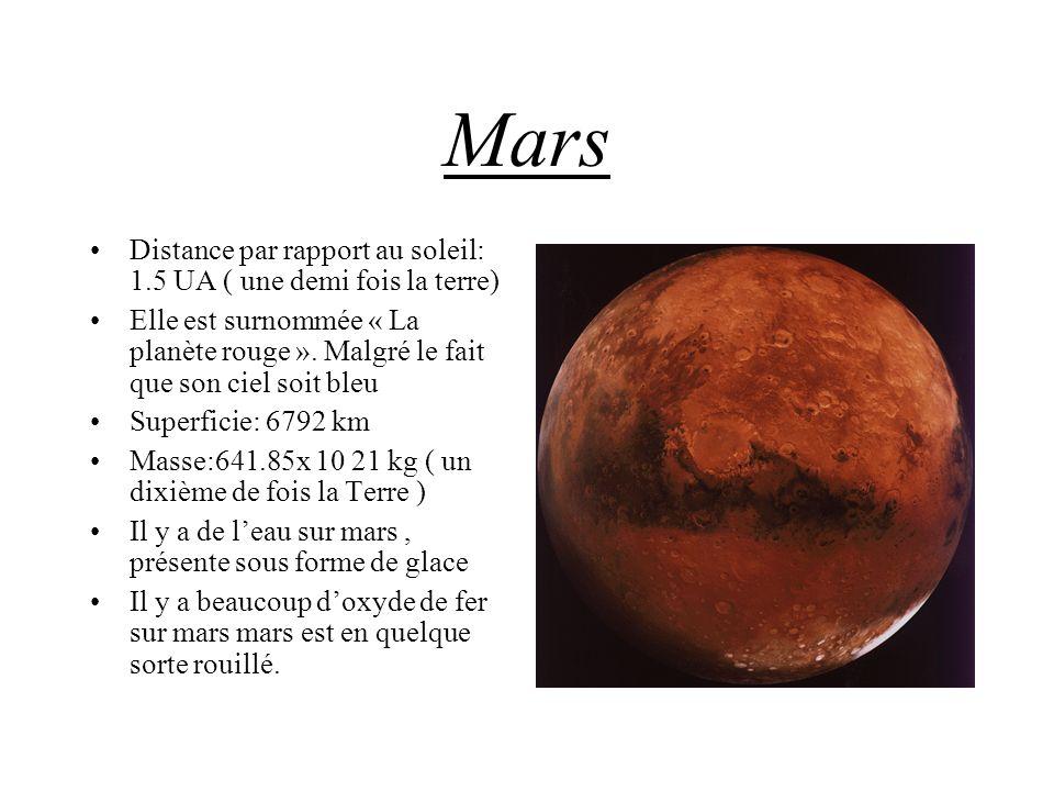 Mars Distance par rapport au soleil: 1.5 UA ( une demi fois la terre) Elle est surnommée « La planète rouge ». Malgré le fait que son ciel soit bleu S