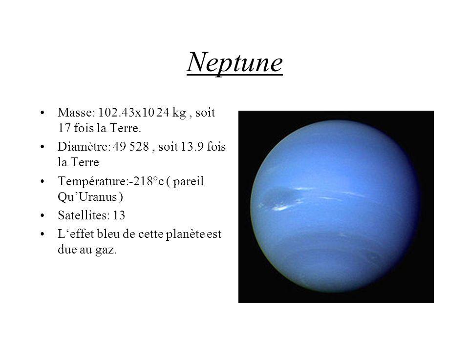 Neptune Masse: 102.43x10 24 kg, soit 17 fois la Terre. Diamètre: 49 528, soit 13.9 fois la Terre Température:-218°c ( pareil QuUranus ) Satellites: 13