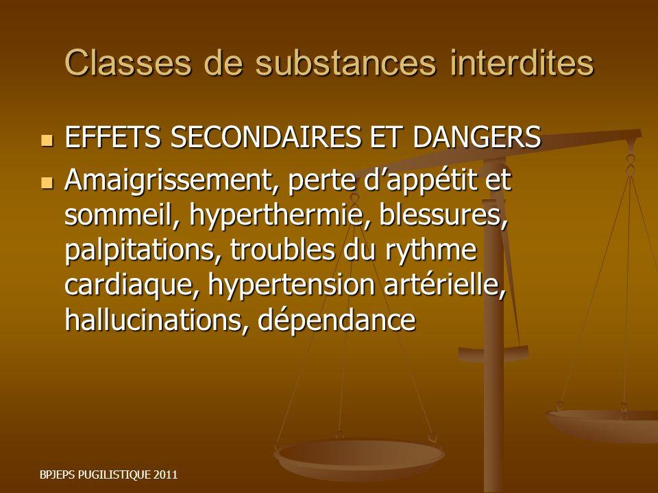 BPJEPS PUGILISTIQUE 2011 Classes de substances interdites EFFETS SECONDAIRES ET DANGERS EFFETS SECONDAIRES ET DANGERS Amaigrissement, perte dappétit e