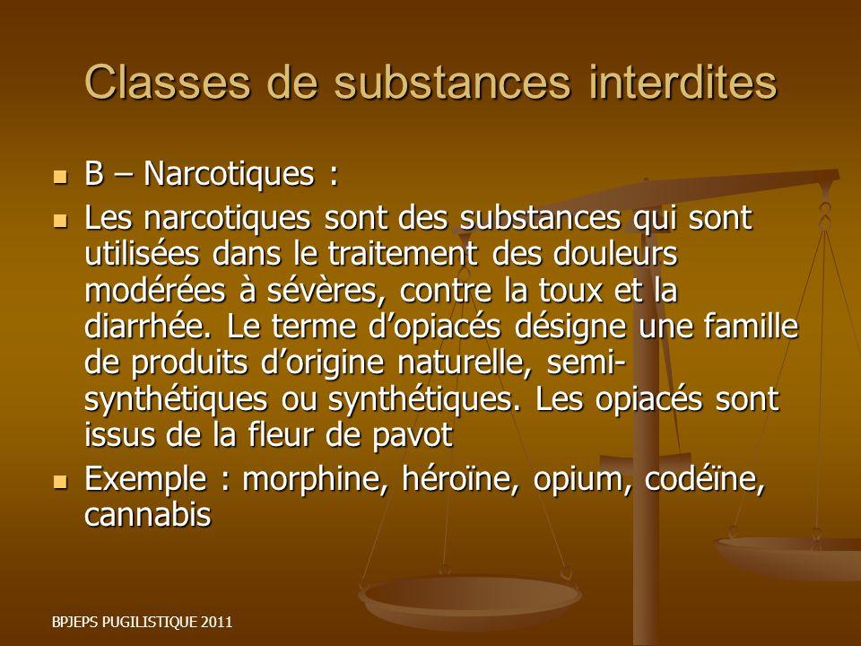 BPJEPS PUGILISTIQUE 2011 Classes de substances interdites B – Narcotiques : B – Narcotiques : Les narcotiques sont des substances qui sont utilisées d