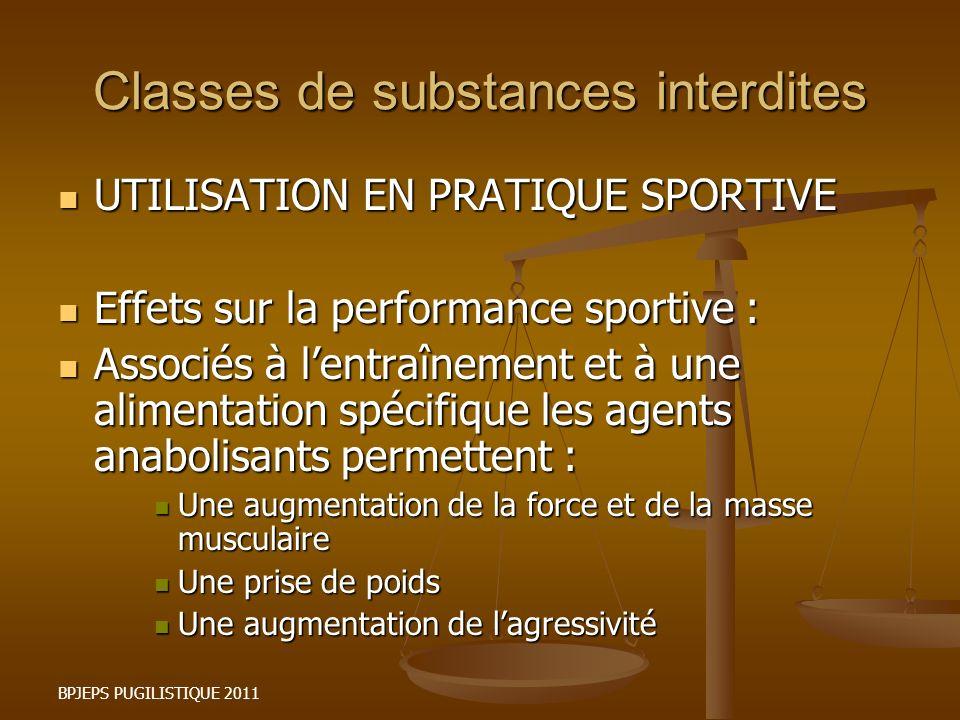 BPJEPS PUGILISTIQUE 2011 Classes de substances interdites UTILISATION EN PRATIQUE SPORTIVE UTILISATION EN PRATIQUE SPORTIVE Effets sur la performance
