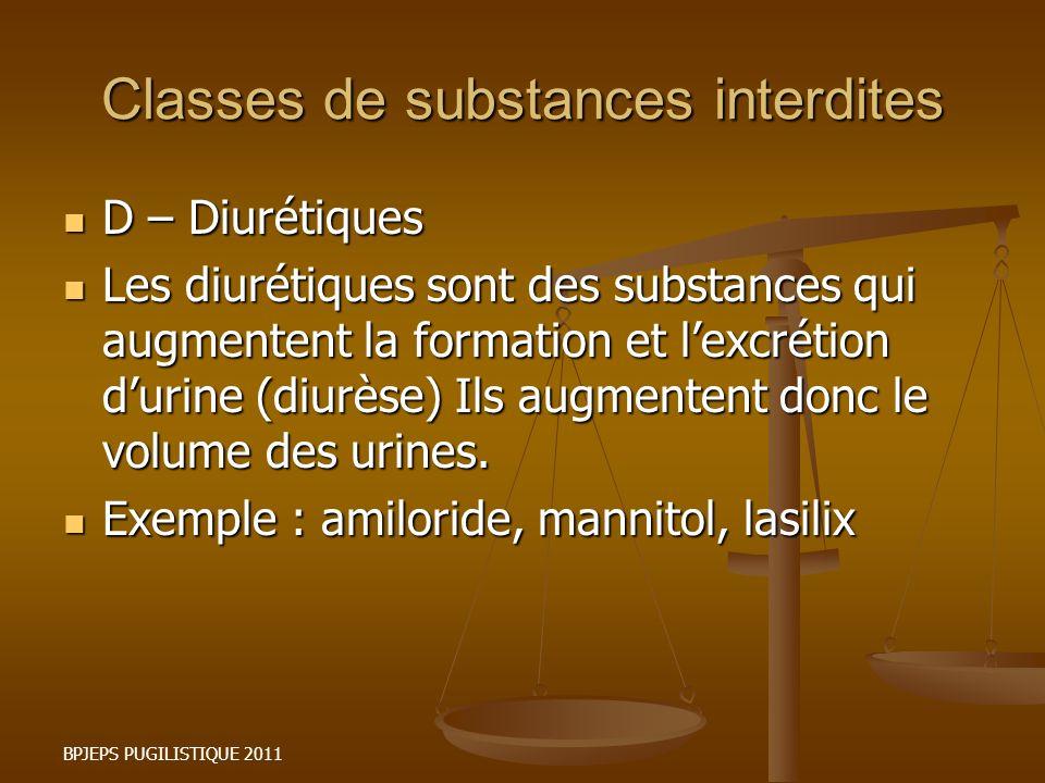 BPJEPS PUGILISTIQUE 2011 Classes de substances interdites D – Diurétiques D – Diurétiques Les diurétiques sont des substances qui augmentent la format
