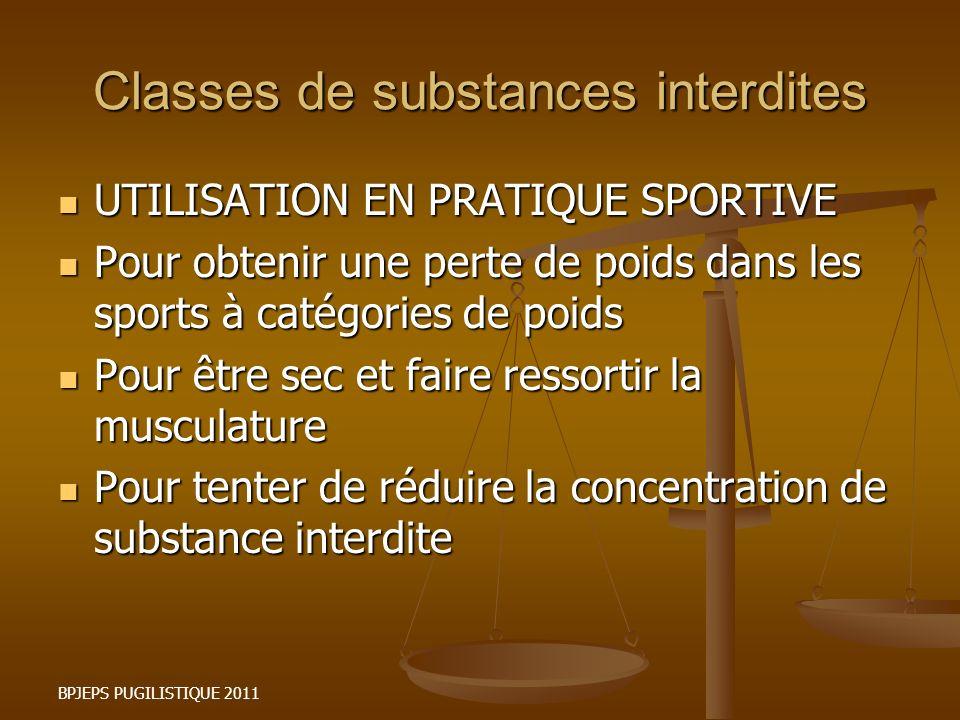 BPJEPS PUGILISTIQUE 2011 Classes de substances interdites UTILISATION EN PRATIQUE SPORTIVE UTILISATION EN PRATIQUE SPORTIVE Pour obtenir une perte de