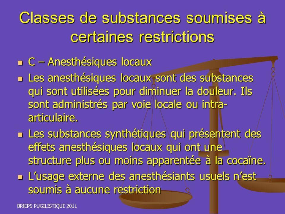 BPJEPS PUGILISTIQUE 2011 Classes de substances soumises à certaines restrictions C – Anesthésiques locaux C – Anesthésiques locaux Les anesthésiques l