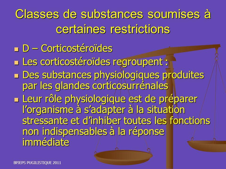 BPJEPS PUGILISTIQUE 2011 Classes de substances soumises à certaines restrictions D – Corticostéroïdes D – Corticostéroïdes Les corticostéroïdes regrou