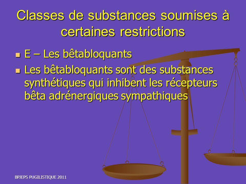 BPJEPS PUGILISTIQUE 2011 Classes de substances soumises à certaines restrictions E – Les bêtabloquants E – Les bêtabloquants Les bêtabloquants sont de