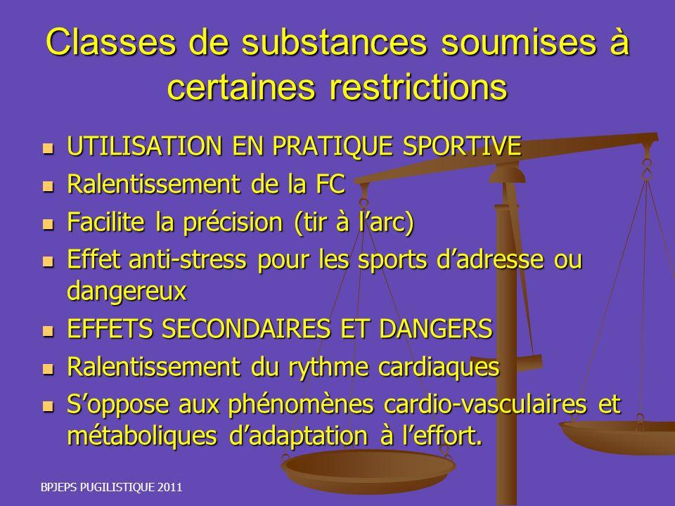 BPJEPS PUGILISTIQUE 2011 Classes de substances soumises à certaines restrictions UTILISATION EN PRATIQUE SPORTIVE UTILISATION EN PRATIQUE SPORTIVE Ral