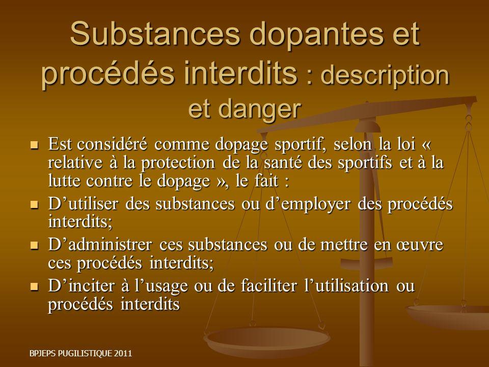 Substances dopantes et procédés interdits : description et danger Est considéré comme dopage sportif, selon la loi « relative à la protection de la sa