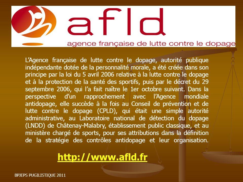 LAgence française de lutte contre le dopage, autorité publique indépendante dotée de la personnalité morale, a été créée dans son principe par la loi