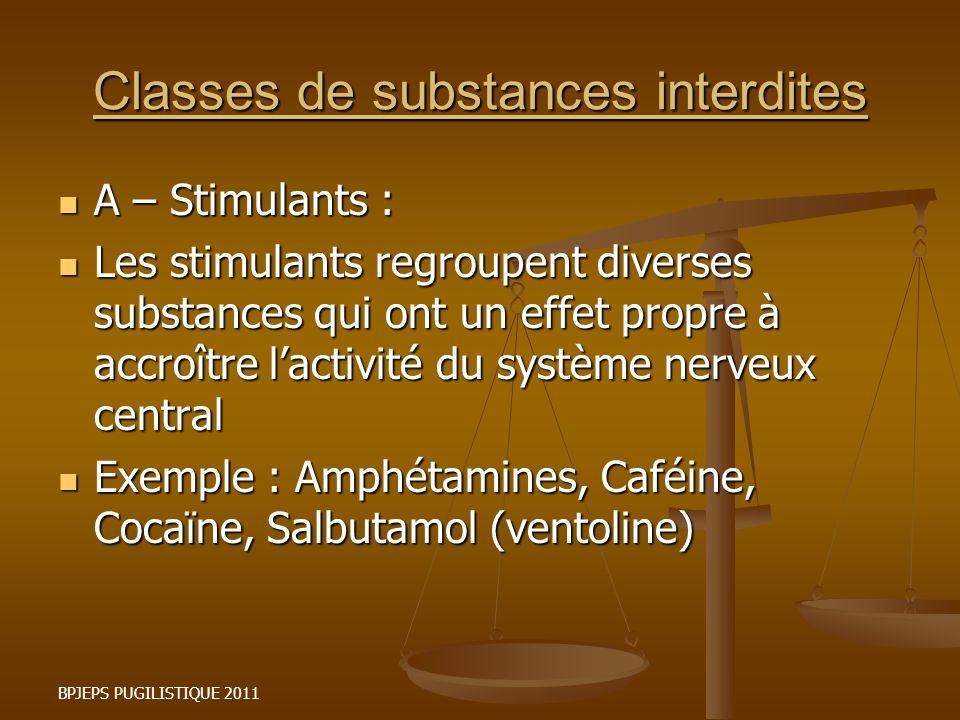 BPJEPS PUGILISTIQUE 2011 Classes de substances interdites A – Stimulants : A – Stimulants : Les stimulants regroupent diverses substances qui ont un e