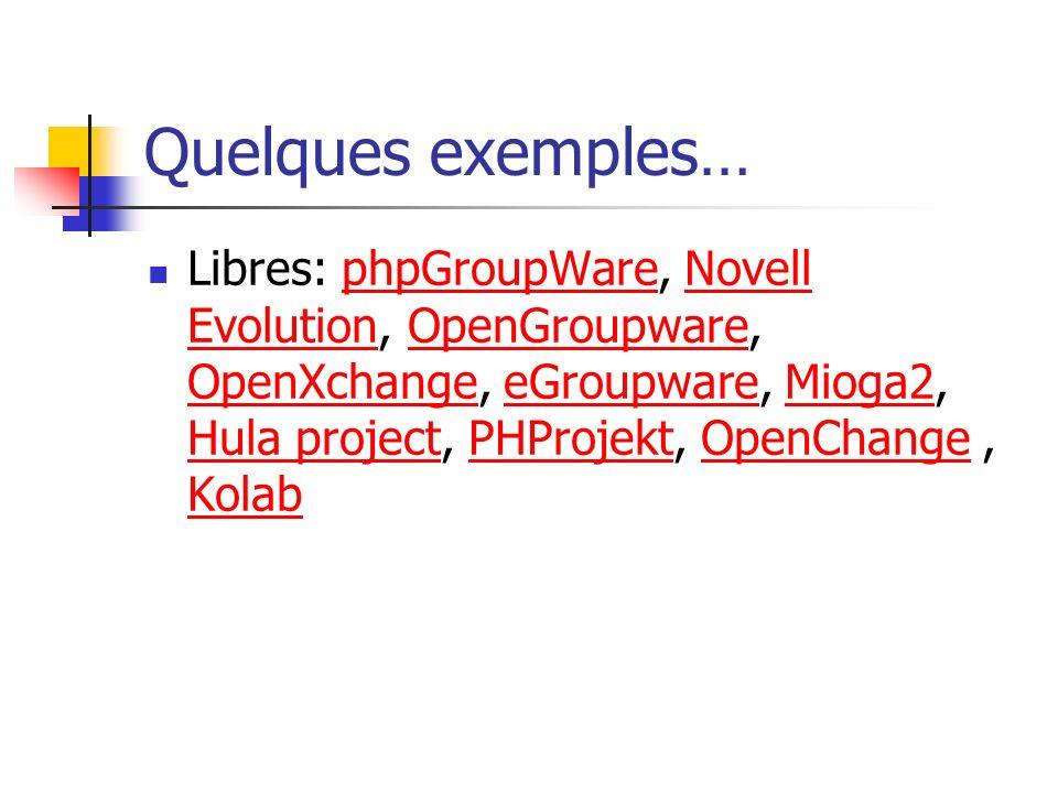 Quelques exemples… Libres: phpGroupWare, Novell Evolution, OpenGroupware, OpenXchange, eGroupware, Mioga2, Hula project, PHProjekt, OpenChange, Kolabp