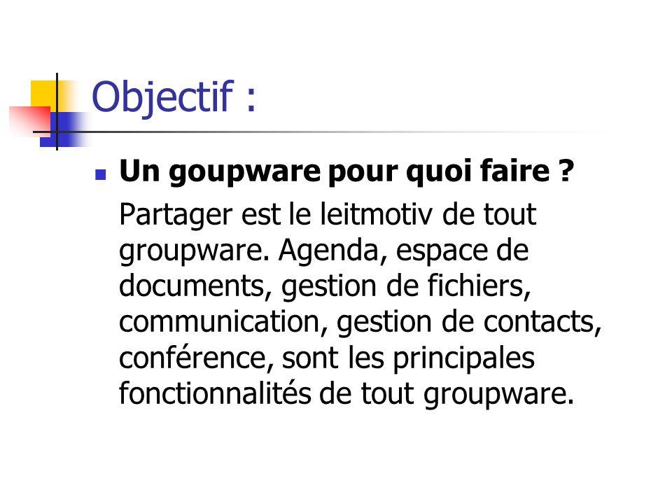 Objectif : Un goupware pour quoi faire ? Partager est le leitmotiv de tout groupware. Agenda, espace de documents, gestion de fichiers, communication,